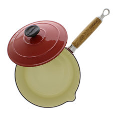 Chasseur 2.5-quart French Enameled Cast Iron Saucepan With Wooden Handle, Red