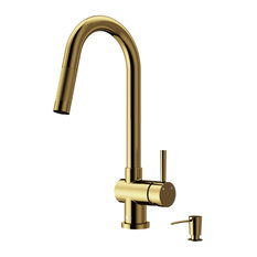 VIGO Gramercy Pull-Down Kitchen Faucet With Soap Dispenser, Matte Gold