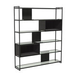 Federico High Bookcase, Black Stained Oak, Black Accent