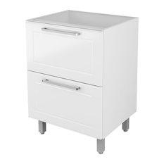 """CasaMob/Best Steel Kitchen - Steel Kitchen Cabinet, Base 2 Drawers, 24""""W x 20""""D, White - Kitchen Cabinetry"""