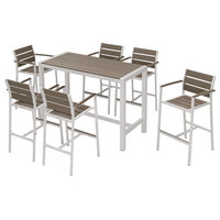 Outdoor Patio Furniture Dining Bar Table Set, 7-Piece Set