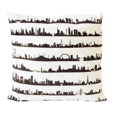 16 Cities Skyline Scatter Cushion Cover, Cream Cotton, 40x40 cm