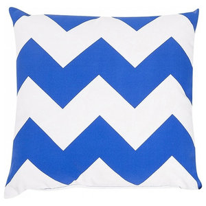 Decorative Garden Cushion With Blue and White Zigzags, 40x40 cm