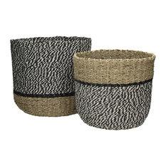 Pomax Ushuaia Seagrass Black and White Storage Baskets, 2-Piece Set