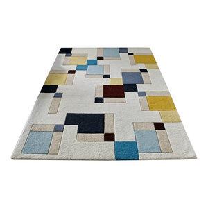 Illusion Abstract Blocks Blue Ochre Rectangular Funky Rug, 160x230 cm