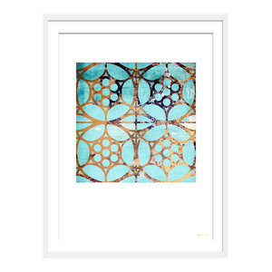 """""""Lost In Another Maze"""" Geometric Art Print, White Framed, 40x50 cm"""