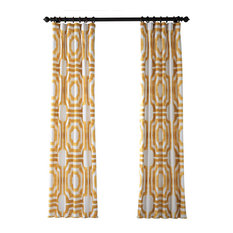 "Mecca Printed Cotton Curtain, Gold, 50""x96"""