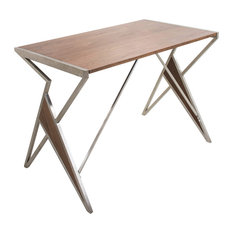 Lumisource Tetra Desk in Walnut Wood and Stainless Steel