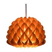 Wood Dahlia Pendant Lamp, Chinese Ash Veneer