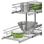 """Rev-A-Shelf - 21"""" Chrome Two-Tier Wire Baskets - Rev-A-Shelf's Two-Tier baskets make other 2-shelf units fail in comparison.  With the heavy gage construction, ball-bearing slides on both baskets, and multiple mounting points this is the best two-tier unit on the market.  With 100lb slides on each basket you don't have to worry about overloading or bending the wire as these units will work in almost any size base cabinet.  The multiple mounting points make sure that any sort of side to side movement is limited.  Finish the look off by adding the optional door mount kit.                                                                                                                                                                          � (1) top basket, (1) bottom basket, (2) u-shape supports, (1) rear moutning bracket and mounting hardware"""