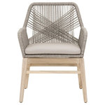Benzara - Weave Design Outdoor Dining Arm Chair With Loose Seat Cushion, Gray, Set Of Two - Weave Design Outdoor Dining Arm Chair With Loose Seat Cushion, Gray, Set Of TwoThis hand-made outdoor dining arm chair set will bring a fusion of beauty and style to your home. Made up of using wood, rope and fabric, this set finishes a rope weave design over solid mahogany frame giving it an indigenous appearance that will help in creating an e x ceptionally elegant decoration. This set also consists one loose cushion seat to give comfort and style while seating. Featuring a lightweight design in a color of gray and brown, this set features slightly flared feet design. Ideal dining chair set for outdoor use.