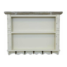Rustic Chest of Drawers, MDF With 2-Shel and 5-Hook, White Shabby Chic Finish