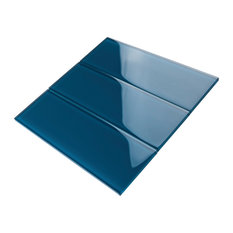 "4""x12"" Baker Glass Subway Tiles, Set of 3, Turquoise"