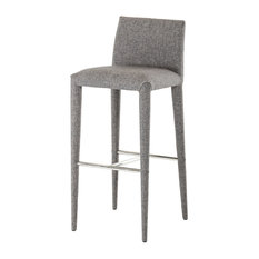 Modrest Medford - Modrest Medford Modern Gray Fabric Bar Stool - Bar Stools and Counter Stools