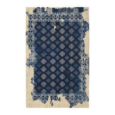 """Navy Fragment Distressed Vintage Inspired Area Rug, 7'6""""x9'6"""""""
