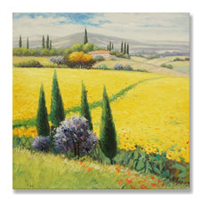 7Canvas-Handmade Tuscan Oil Painting Wall Art-Landscape Scene, 24x24""