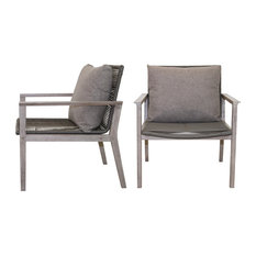 Rope and Gray Wash Eucalyptus Lounge Chair With Olefin Pillow, Set of 2