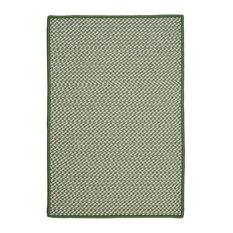 Outdoor Houndstooth Tweed Rug, Leaf Green, 2'x12' Runner