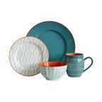 Tanigers 16-Piece Dinnerware Set, Turquoise