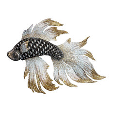 Jay Strongwater Namoko Fighting Fish Figurine Jet Crystal Finish