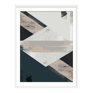 """Simi"" Abstract Art Print, White Framed, 40x50 cm"