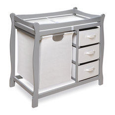 Sleigh Style Baby Changing Table With Hamper And 3 Baskets Gray