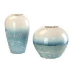 John Richard Set of 2 Cream Melting Into Blue Vases JRA-9751S2