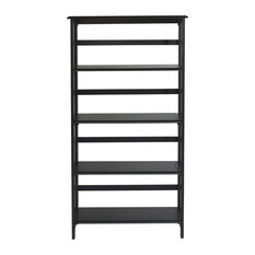 Brookings 5 Shelf Bookcase Black With Folding Assembly