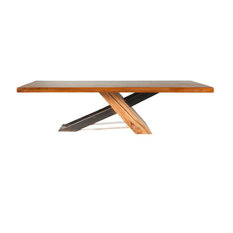 Modern Dining Table Reclaimed Teak Wood And Iron 84x40x30