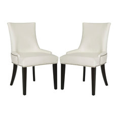 Safavieh Lester Dining Chairs, Set of 2, White Leather, Espresso