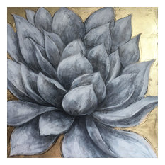 """Blooming Gray Petals"" Hand Painted Canvas Art"