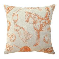 Equestrian Hand-Printed Linen Pillow, Orange