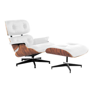 Lux Italian Leather Lounge Chair and Ottoman, Bright White Italian Leather With