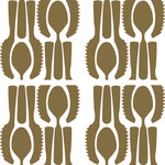 """Tyles by the Nic Studio - 8""""x8"""" Utensils Cascade Sophisticated Vinyl Wall Decor, Metallic Gold, Set of 12 - Tyles from The Nic Studio offer a stylish solution to finishing your untiled surfaces such as the kitchen backsplash, bathroom walls, or entryway without commitment. Utensils Cascade is a tongue-in-cheek pattern, reminiscent of 70s wallpaper. Tyles from The Nic Studio offer a stylish solution to changing your space without commitment. The sets of were put together for ease of application and flexibility of space. Whether it's a full wall, a border, or a detail, Tyles are the perfect size to work with, and are ideal for renters and owners alike. Package includes: 12 8x8"""" square Tyles, application instructions, a sample piece of vinyl to test on your wall for adherence, and a plastic tool for application. Tyles are designed and packaged in Brooklyn, New York. Manufactured in the USA."""