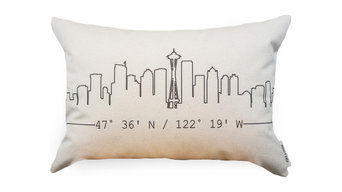 Skyline Organic Cotton Canvas Printed Pillow, Seattle, WA