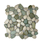 "12""x12"" Glazed Sea Green and White Pebble Tile"