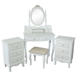 White bedroom furniture - 5 Piece Bedroom Furniture Set - Lila Range