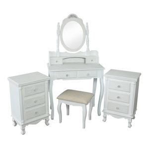 White bedroom furniture - 5 Piece Bedroom Furniture Set - Lila Range