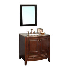 "36"" Single Sink Vanity, Solid Wood, Dark Walnut Finish, Brown Marble Top"