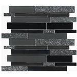 "Mosaic Decor - Black Gray Glass Stone Mosaic Kitchen Backsplash Tile, 12""x12"" - Try it before you buy by ordering a sample!"