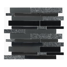 "Black Gray Glass Stone Mosaic Kitchen Backsplash Tile, 12""x12"""