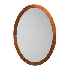 Ronbow Contemporary Solid Wood Framed Oval Bathroom Mirror, Dark Cherry