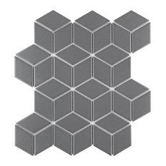 SomerTile Metro Rhombus Mosaic Floor and Wall Tile,  Case of 10, Matte Gray