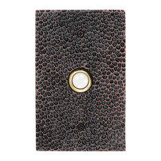 Solid Brass Large Hammered Plate Doorbell in 4 Finishes, Oil Rubbed Bronze