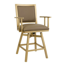 Lancaster Bar Height Swivel Barstool Dillon Balsa Faux Leather/Opaque Gold 30-inch