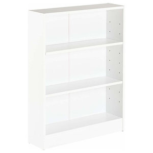 Contemporary Bookcase, White Painted MDF With 3-Compartment for Storage