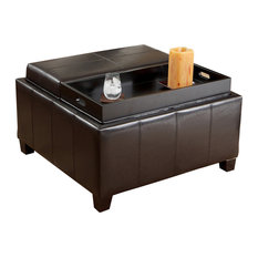 Gdfstudio Plymouth Espresso Leather Tray Top Storage Ottoman Footstools And Ottomans