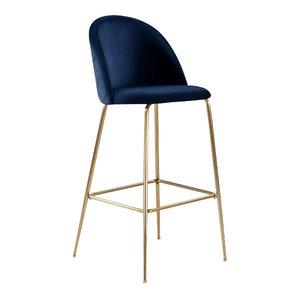 Millennial Brass Velvet Upholstered Dining Bar Stool, Royal Blue, 65 cm