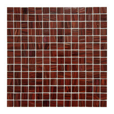 "12""x12"" Cuivre Translucent Glass Mosaic Tiles, Set of 10, Burgundy"
