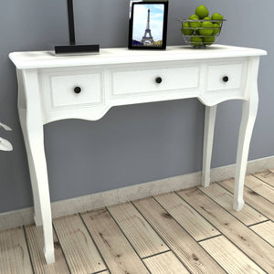 VidaXL White Dressing Console Table With 3 Drawers